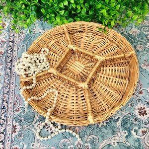 Large Wicker Woven Tray w/ 5 Sections